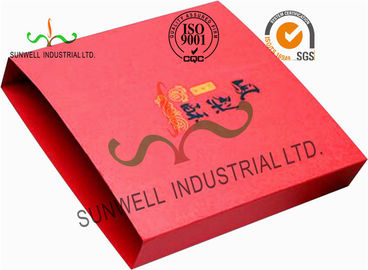 Red Color Cardboard Paper Boxes For Food Packaging Customized Gold Hot Stamping